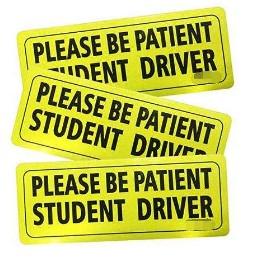 שילוט  מגנטי לרכב - סטודנט לנהיגה סבלנות  3 יחידות